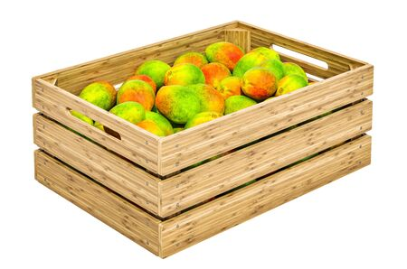 Mangoes in the wooden crate, 3D rendering isolated on white background