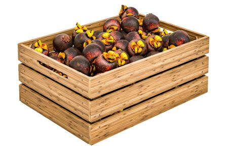 Mangosteen fruits in the wooden crate, 3D rendering isolated on white background Stock Photo