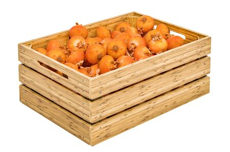 Onions in the wooden crate, 3D rendering isolated on white background