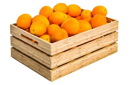 Oranges in the wooden crate, 3D rendering isolated on white background