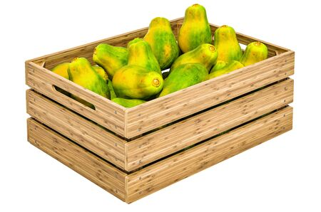 Papayas in the wooden crate, 3D rendering isolated on white background