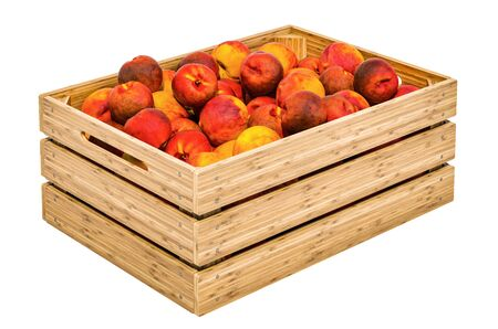 Peaches in the wooden crate, 3D rendering isolated on white background