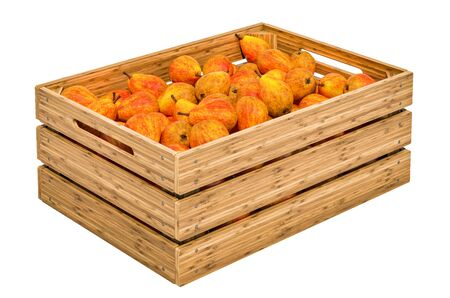 Pears in the wooden crate, 3D rendering isolated on white background