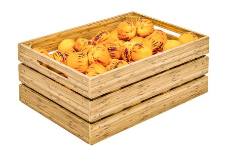 Pepinos in the wooden crate, 3D rendering isolated on white background