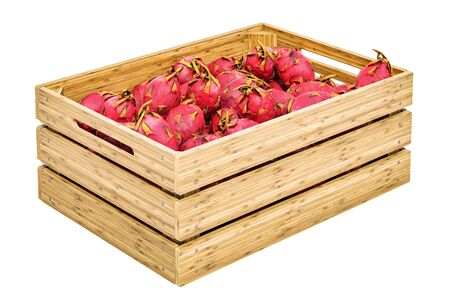 Pitaya or dragon fruits in the wooden crate, 3D rendering isolated on white background