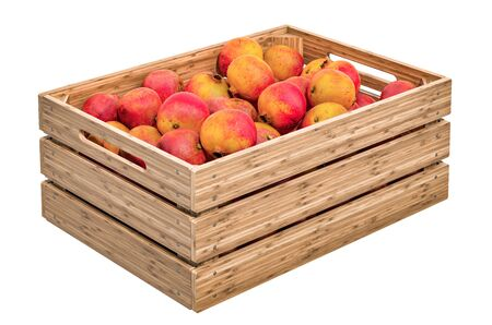 Pomegranates in the wooden crate, 3D rendering isolated on white background Stock Photo