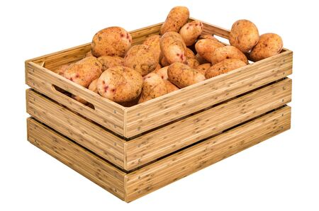 Potatoes in the wooden crate, 3D rendering isolated on white background