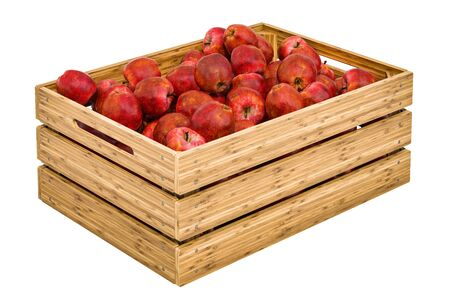 Red apples in the wooden crate, 3D rendering isolated on white background