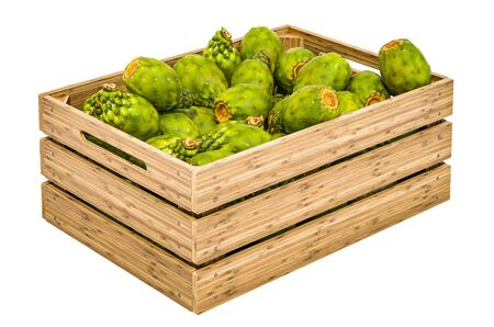 Cactus pears in the wooden crate, 3D rendering isolated on white background Stock Photo - 132135980