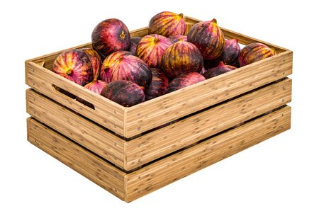Common figs in the wooden crate, 3D rendering isolated on white background