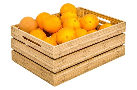 Grapefruits in the wooden crate, 3D rendering isolated on white background Standard-Bild - 132053073