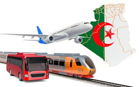 Passenger transportation in Algeria by buses, trains and airplanes, concept. 3D rendering isolated on white background