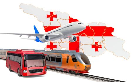 Passenger transportation in Georgia by buses, trains and airplanes, concept. 3D rendering isolated on white background