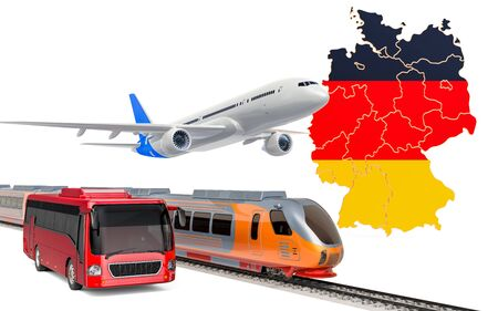 Passenger transportation in Germany by buses, trains and airplanes, concept. 3D rendering isolated on white background Banco de Imagens