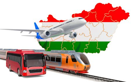Passenger transportation in Hungary by buses, trains and airplanes, concept. 3D rendering isolated on white background Banco de Imagens