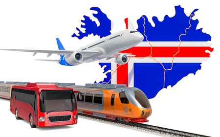 Passenger transportation in Iceland by buses, trains and airplanes, concept. 3D rendering isolated on white background
