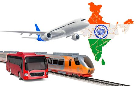 Passenger transportation in India by buses, trains and airplanes, concept. 3D rendering isolated on white background