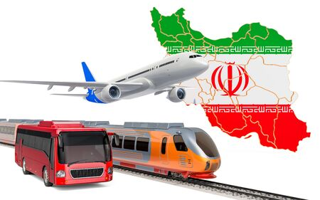 Passenger transportation in Iran by buses, trains and airplanes, concept. 3D rendering isolated on white background Banco de Imagens