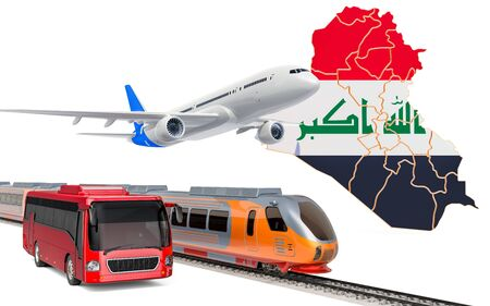 Passenger transportation in Iraq by buses, trains and airplanes, concept. 3D rendering isolated on white background