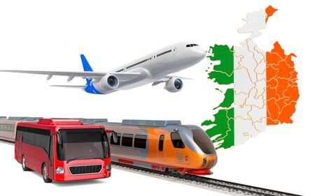Passenger transportation in Ireland by buses, trains and airplanes, concept. 3D rendering isolated on white background