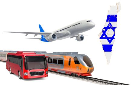 Passenger transportation in Israel by buses, trains and airplanes, concept. 3D rendering isolated on white background