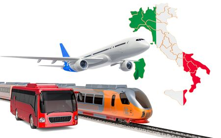 Passenger transportation in Italy by buses, trains and airplanes, concept. 3D rendering isolated on white background