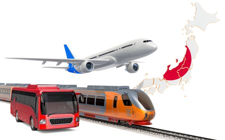Passenger transportation in Japan by buses, trains and airplanes, concept. 3D rendering isolated on white background