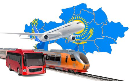 Passenger transportation in Kazakhstan by buses, trains and airplanes, concept. 3D rendering isolated on white background