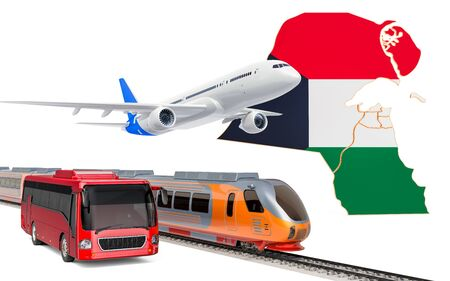 Passenger transportation in Kuwait by buses, trains and airplanes, concept. 3D rendering isolated on white background