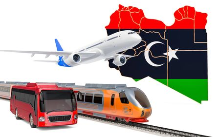 Passenger transportation in Libya by buses, trains and airplanes, concept. 3D rendering isolated on white background