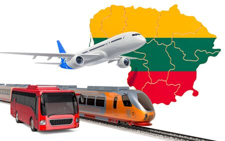 Passenger transportation in Lithuania by buses, trains and airplanes, concept. 3D rendering isolated on white background