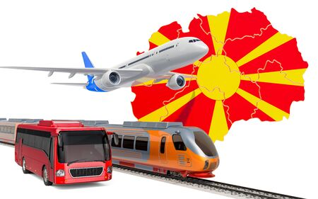 Passenger transportation in Macedonia by buses, trains and airplanes, concept. 3D rendering isolated on white background
