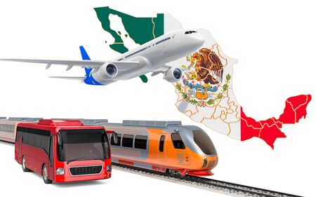 Passenger transportation in Mexico by buses, trains and airplanes, concept. 3D rendering isolated on white background