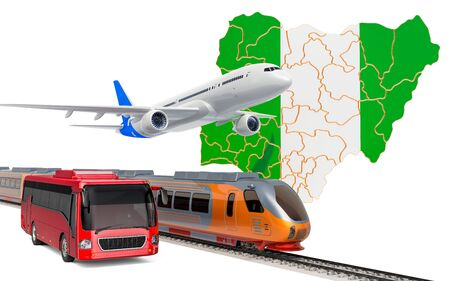 Passenger transportation in Nigeria by buses, trains and airplanes, concept. 3D rendering isolated on white background Banco de Imagens