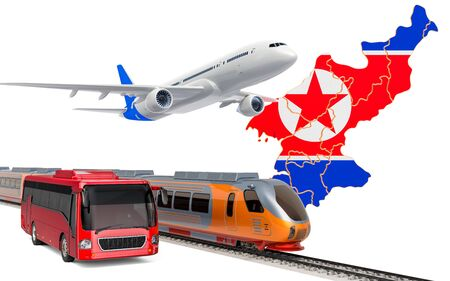 Passenger transportation in North Korea by buses, trains and airplanes, concept. 3D rendering isolated on white background Banco de Imagens