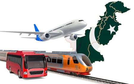 Passenger transportation in Pakistan by buses, trains and airplanes, concept. 3D rendering isolated on white background