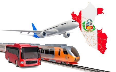 Passenger transportation in Peru by buses, trains and airplanes, concept. 3D rendering isolated on white background