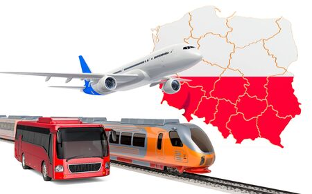 Passenger transportation in Poland by buses, trains and airplanes, concept. 3D rendering isolated on white background