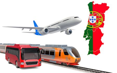 Passenger transportation in Portugal by buses, trains and airplanes, concept. 3D rendering isolated on white background