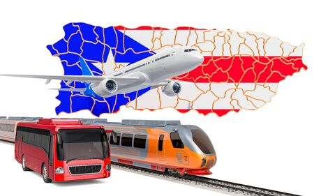 Passenger transportation in Puerto Rico by buses, trains and airplanes, concept. 3D rendering isolated on white background Banco de Imagens