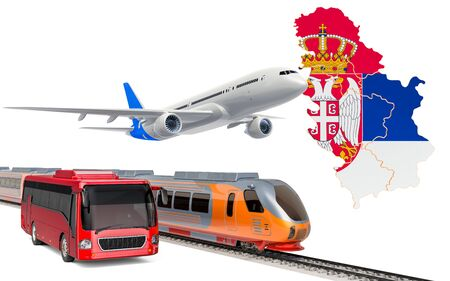 Passenger transportation in Serbia by buses, trains and airplanes, concept. 3D rendering isolated on white background Banco de Imagens