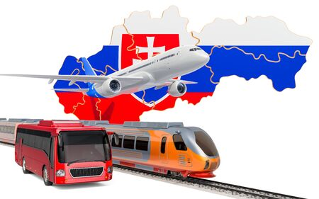 Passenger transportation in Slovakia by buses, trains and airplanes, concept. 3D rendering isolated on white background Banco de Imagens