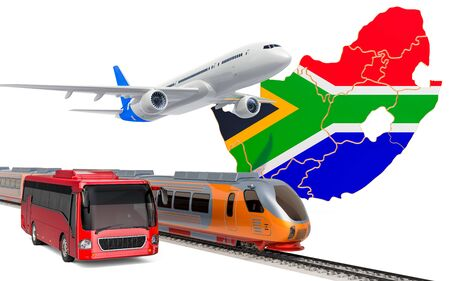 Passenger transportation in South Africa by buses, trains and airplanes, concept. 3D rendering isolated on white background Banco de Imagens