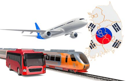 Passenger transportation in South Korea by buses, trains and airplanes, concept. 3D rendering isolated on white background Banco de Imagens