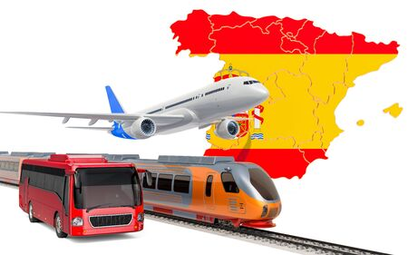 Passenger transportation in Spain by buses, trains and airplanes, concept. 3D rendering isolated on white background Banco de Imagens