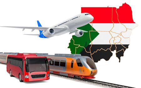 Passenger transportation in Sudan by buses, trains and airplanes, concept. 3D rendering isolated on white background