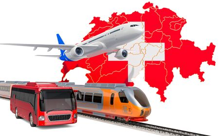Passenger transportation in Switzerland by buses, trains and airplanes, concept. 3D rendering isolated on white background