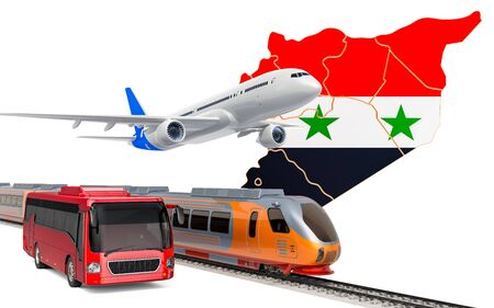Passenger transportation in Syria by buses, trains and airplanes, concept. 3D rendering isolated on white background