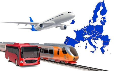 Passenger transportation in the European Union by buses, trains and airplanes, concept. 3D rendering isolated on white background
