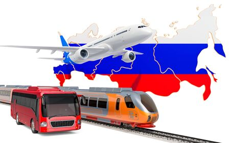 Passenger transportation in the Russian Federation by buses, trains and airplanes, concept. 3D rendering isolated on white background